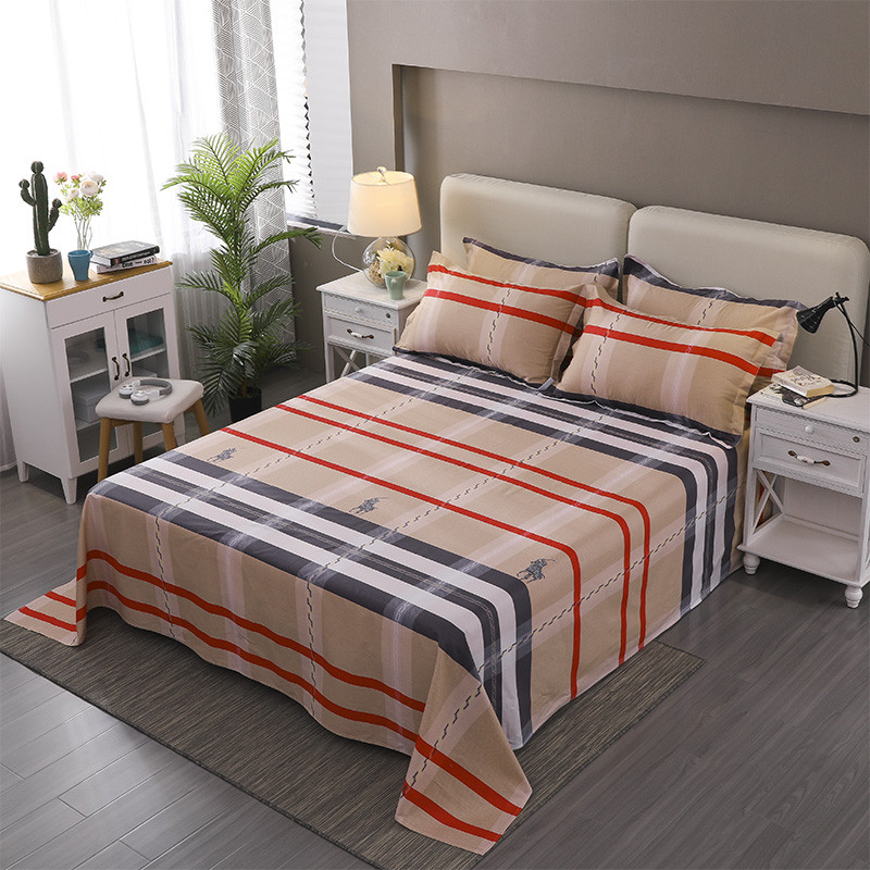 Stylish Color Stripe Pattern 3pcs Home Textile Printing Flat Sheets Combed Cotton Bed Sheet Bedding Linen For 220x240cm Set Size