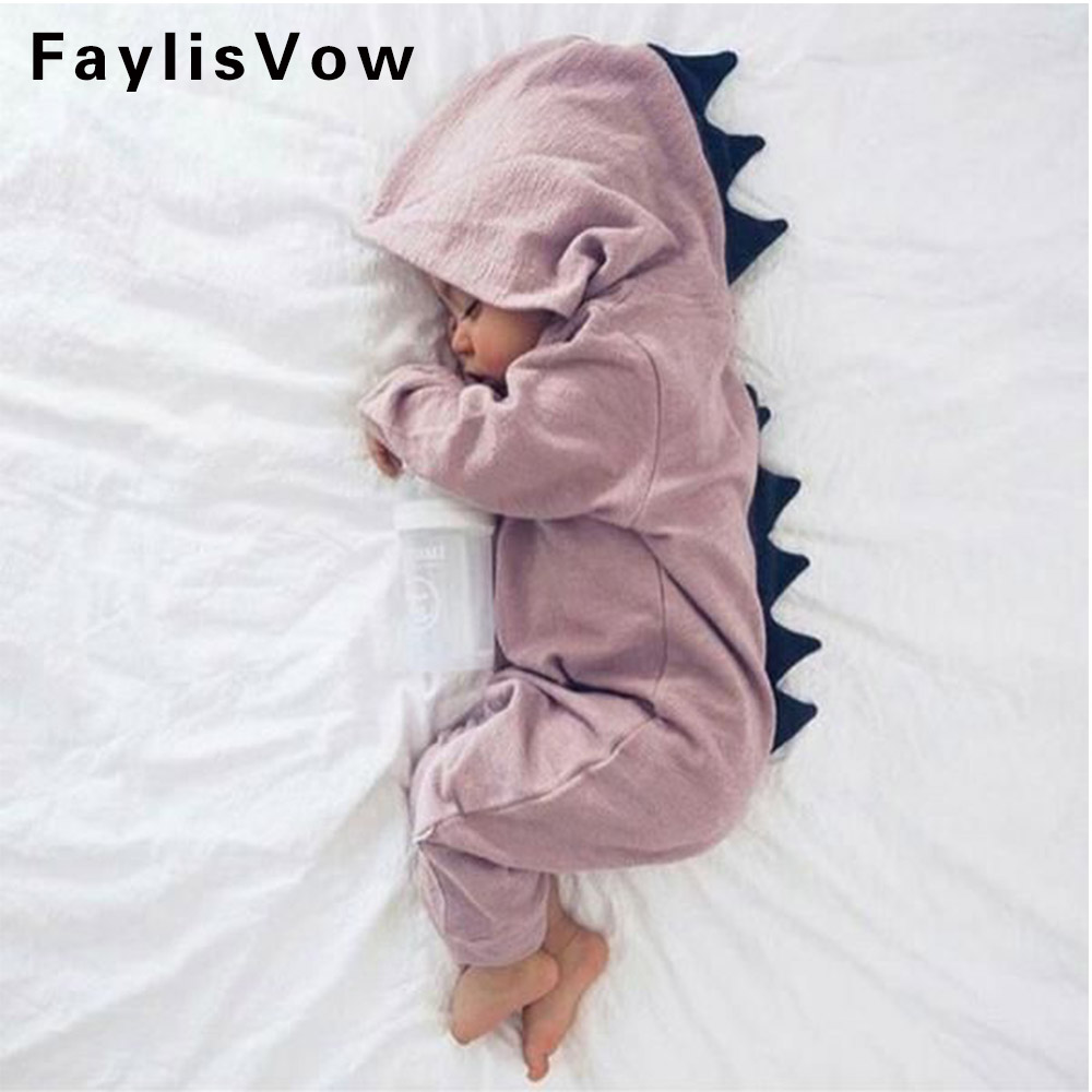 Dinosaur Animal Baby Rompers Newborn Boys Girls Solid Jumpsuits Autumn Winter Pajamas Infant Cotton Outerwear Overalls Clothes цена