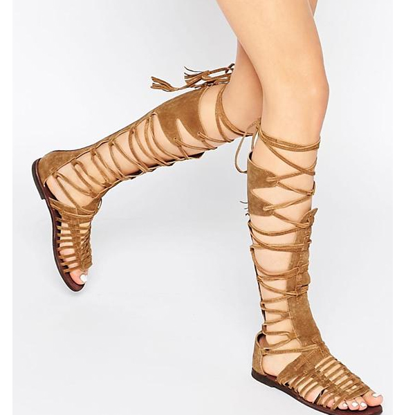 2017 Boho Tassel Back Zipper Open Toe Knee High Tall Lace Up Cut Out Gladiator Boot Sandals Flat Straps Boots Shoes Size 35-43 plus size open back floral lace up tank top