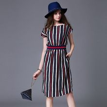 2016 summer new european leisure fashion women clothing short sleeve round collar head over empire slim stripe mid-long dresses