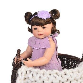 Purple giraffe with Reborn Baby Doll 55 cm smooth Silicone Baby Girl sweet Newborn Princess Dolls Children Birthhday Xmas Gift I