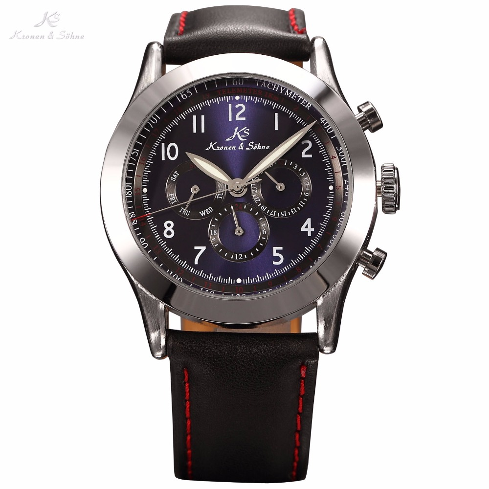 Navigator KS Luxury Brand Vintage Male Clock Automatic Mechanical Day Date 24 Hour Men Leather Strap Self Wind Watch / KS123 famous brand fngeen role luxury mechanical watch men sport automatic watches self wind nylon strap wristwatch male clock sports