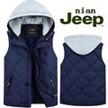 Бесплатная доставка плюс размер М-5XL Осень и зима жилет с капюшоном хлопок марка военные жилет пальто утолщение мужская одежда жилеты