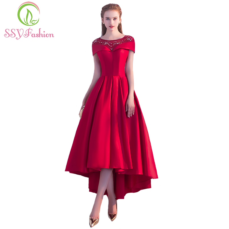 Clearance SSYFashion Red Satin Evening Dress The Bride Banquet Elegant Sequins High/low Asymmetry Tea-length Prom Party Gown