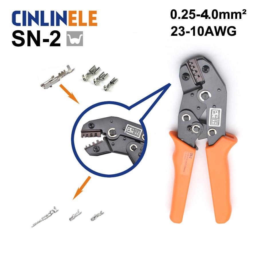 Frete Grátis SN-2 0.25-4.0mm 23-11AWG Mini Tipo Auto Ajustável Ferramentas Crimper Mão Alicate de Friso Terminais de Cabos Elétricos