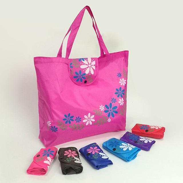 0c69dec256a 45 57cm New Fashion Printing Flowers Foldable Reusable Shopping Bags Hot  EcoTote Handbags Convenient Large