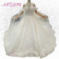 AXJFU Luxury princess boat neck flower lace wedding dress crystal sparkly with veil ruffles wedding dress 100% real photo 179445
