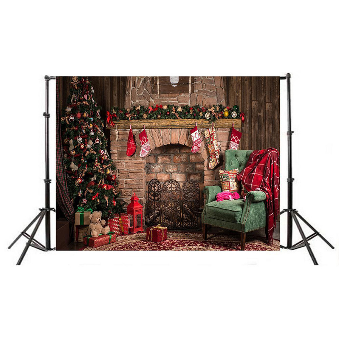 Mayitr 3x5ft Retro Xmas  Fireplace Photography Background Art Cloth Christmas Backdrop Fit For Photo Studio Props стиральный порошок hotpoint ariston washing powder