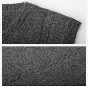 Image 5 - เสื้อกันหนาวผู้ชาย V คอฤดูหนาวเสื้อกั๊กแฟชั่นธุรกิจเยาวชนสบายๆถักเสื้อกันหนาวยี่ห้อ