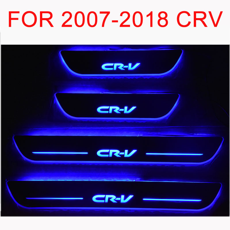 Car-styling for Honda CR-V LED Door Sill Scuff Plate Welcome Pedal threshold shining brilliant pedal for 2006-2018 HONDA CRV for honda crv cr v 2017 2018 stainless steel inner