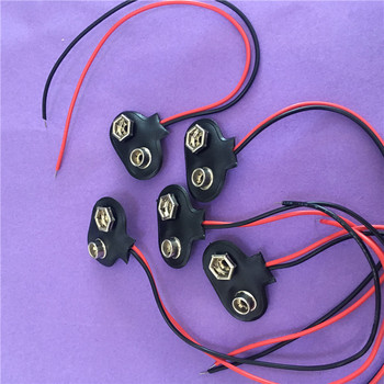 5PC ST076Y 9 V Battery Buckle 6F22 Holder Type T and I Cable Connector Line length 15CM DIY Tool Parts  Hi-Q On Sale