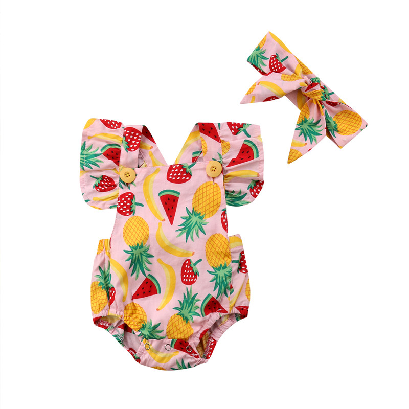 2PCS Countryside Style 2018 Summer Baby Girls Fruit Print Romper Jumpsuit Headband Infant Baby Girls Beach Casual Outfits