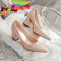 Women  Pattent Leather High Heels Shoes Red Wedding OL Shoes Thick Heel Pointed Toe  Shallow Mouth G776-1A#