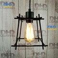 O envio gratuito de gaiola de ferro preto E27 Ferro Pintado Retro Campo Antigo do vintage pingente de luz Luminária lâmpada a forma de lótus