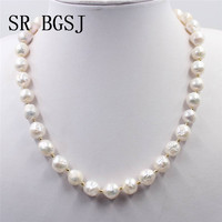 Free Shipping 9 10mm White Genuine Natural Freshwater Edison Reborn Round Bead Women Jewelry Pearl Necklace 18