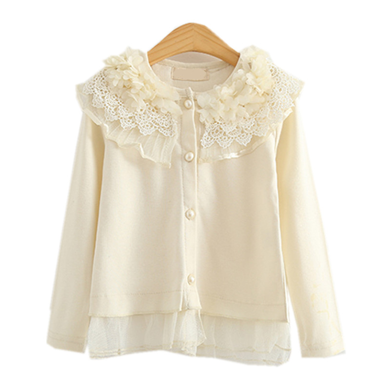 kids girls long sleeve flower ruffle tulle spring autumn cardigan outwear children fashion cotton princess cute blouse clothes ruffle trim open shoulder dot blouse
