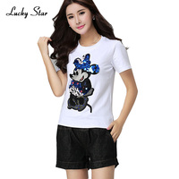 2016 New Fashion Summer Cotton Women T Shirts Cartoon Sequins Short Sleeve T Shirts Women Casual