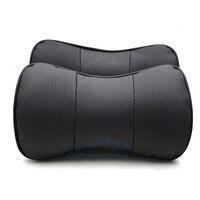 צבע שחור אוניברסלי רכב סטיילינג רכב אוטומטי במבוק פחם צוואר משענת ראש עור אמיתי כיסוי כרית מושב 2 יח'\סט