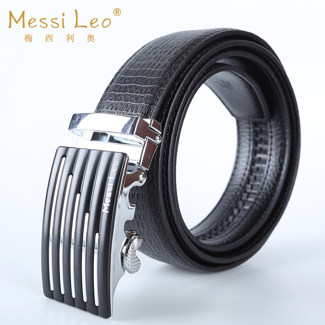 Messi Leo Cowskin Automatic Belt Man Belts Genuine Leather Belt Fashion Casual Soild Belt For Men Automatic Buckle