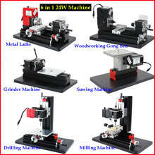 6 in 1 Mini Metal Lathe Machine 24W 20000rpm 12VDC Metal Milling Drilling Grinding Sawing Gong