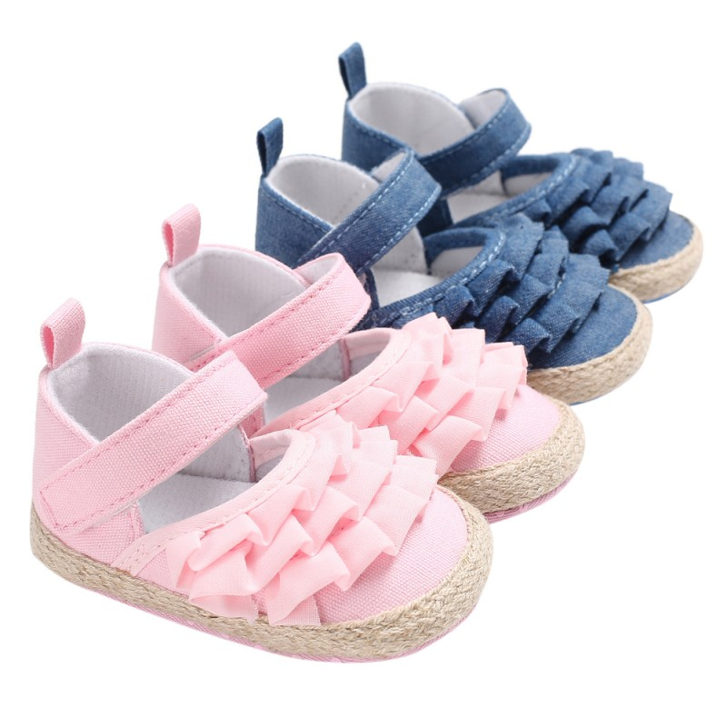 Fashion Baby Girl Shoes Lotus Leaf Ear Casual Princess Baby Soft Bottom Toddler Prewalkers