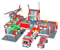 KAIZI Super Large Fire Station Building Blocks Plastic Model Kit Kids Gifts Education Bricks Toys Sets