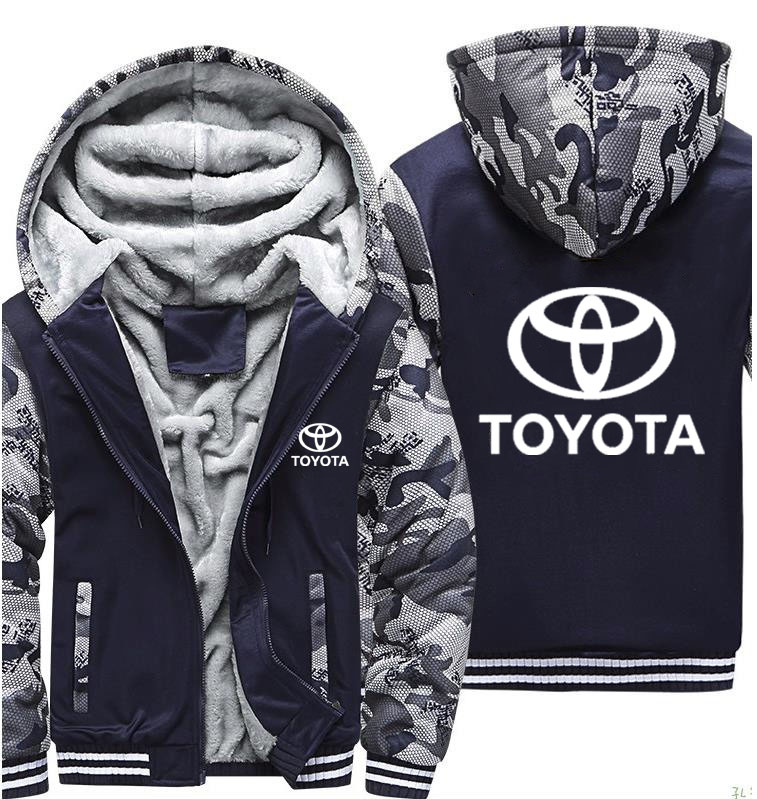 Hoodies Men Toyota Car Logo Print Jacket Mens Hoodie Winter Thicken Warm Fleece Cotton Zipper Camouflage Raglan Mens Coat Jacket