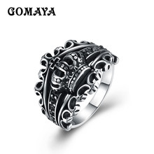 GOMAYA Mens Crown Rings Black Royal King Crown Knight Fleur De Lis Cross Vintage Rings for Men Jewelry
