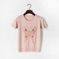 2017 Short Sleeve O Neck Women Sequined Beading Knitted T Shirt Summer Butterfly TopsBlack White Pink