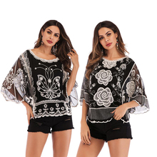 Roses and butterflies hollow embroidery seven-point sleeves bat sleeves round neck pullover loose mesh shirt free shipping yellow sexy pullover bat sleeves loose jumper