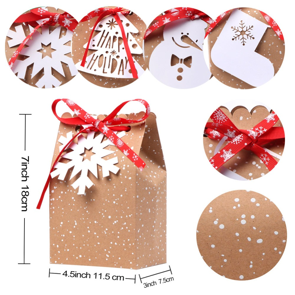 OurWarm 4Pcs Kraft Paper Bags Candy Bar Sweet Candy Cookie Packaging Box with White Tag Ribbon New Year 19 Christmas Gift 4