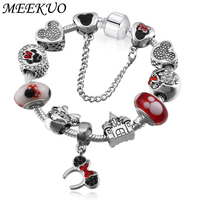 6f0070284 MEEKUO Sliver Plated Mickey European Charm Bracelets& Bangles Doll Castle  Fit pan Bracelets For Child Gift