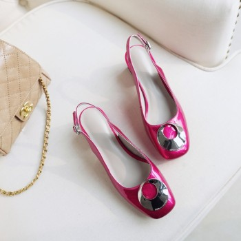 MLJUESE 2018 women sandals cow leather Metal decoration slingbacks square toe beaches sandals casual sandals party dress