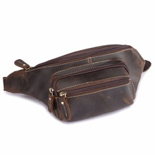 Genuine Crazy Horse Leather Waist Packs For Men Travel Fanny Pack 120cm Belt Length Male Small Waist Bag For Phone Pouch 9415