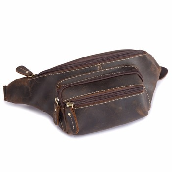 Genuine Crazy Horse Leather Waist Packs For Men Travel Fanny Pack 120cm Belt Length Male Small Waist Bag For Phone Pouch 9415 brand hand made genuine crazy horse leather small cross body shoulder bag men s messenger bags male waist belt pack for travel