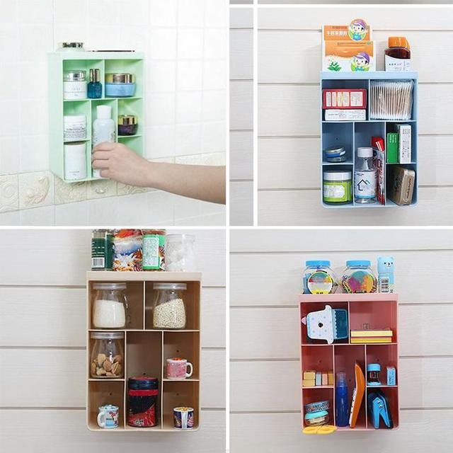 Plastic Wall Hanging Storage Box Case Cosmetics Holder Makeup Organizer  Remote Control Case Home Container PP