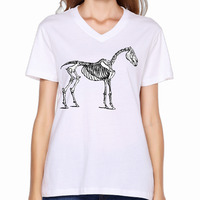 2017 Horse Skeleton Printed Women V Neck Shirts Funny Cartoon Customized Fitness Dance