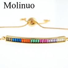 Molinuo Fashion Crystal Bar Charm Bracelet Coloful cz Simple Bracelets for Women Beaded Bohemia Handmade Jewelry