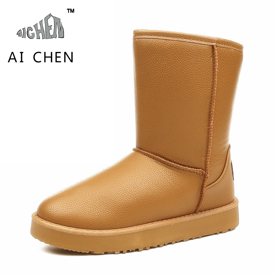 Korean Winter Boots PU Leather Impermeable Snow Boots Women Mid Calf Warm High Boots Bottes Femmes