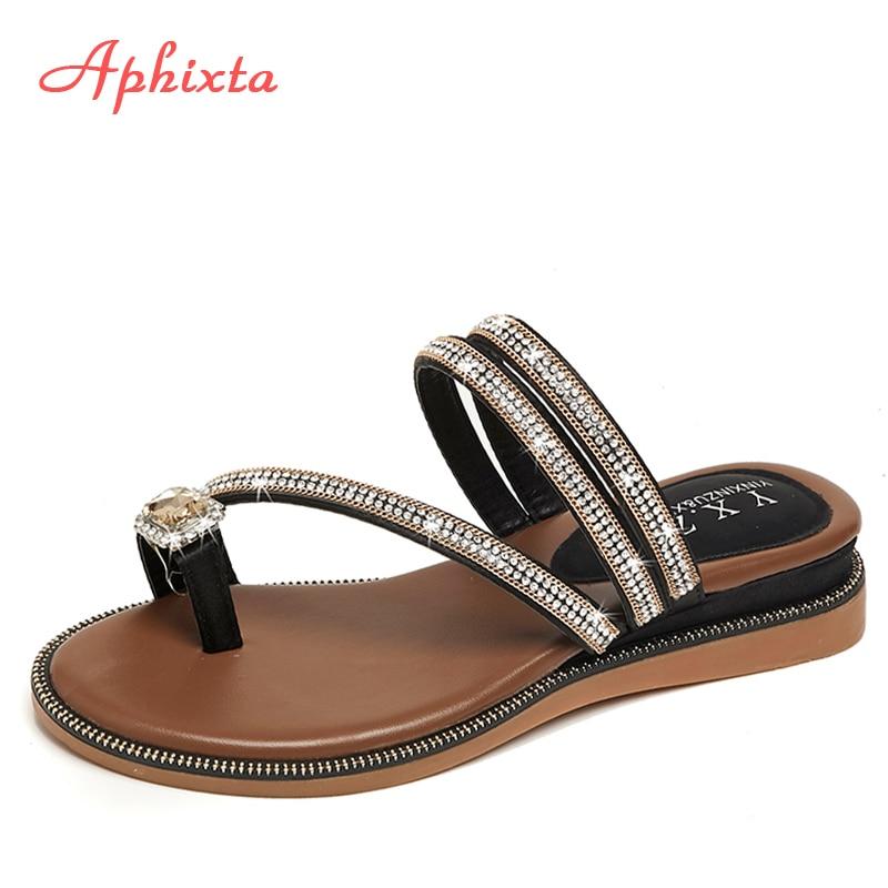 Aphixta Wedges Sandals Slippers Flip-Flops Bling Shoes Rhinestones Babouche Crystal Female