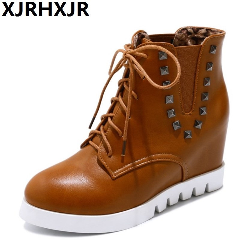 XJRHXJR 8cm High Heels Wedges Shoes Woman Autumn Winter Lace Up Martin Boots Fashion Rivets Women Shoes Hidden Heels Boots xjrhxjr 2018 autumn winter new long