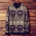 Free Shipping 2017 New Mens Fashion Pullover Printed Pattern O-Neck Thin Brand Clothing Sweaters Plus Size M-5XL TX07