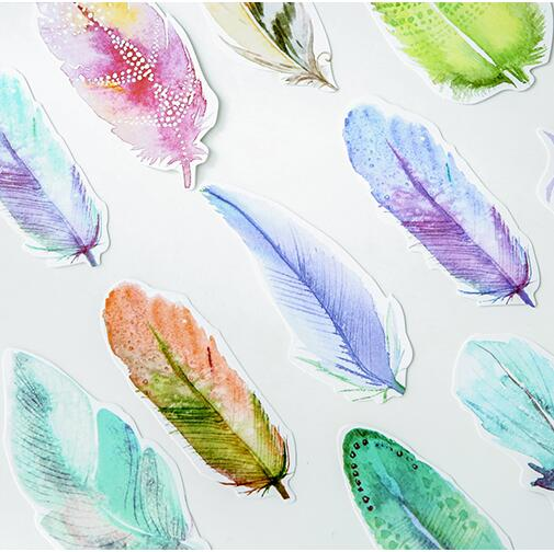 30pcslot Hand Painted Feather Design Postcards Greeting Card