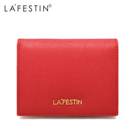 LAFESTIN Genuine Leather Wallet Luxury Designer Women 100% Leather Coin Purse Credit Card Holder Female Ladies Short Wallet