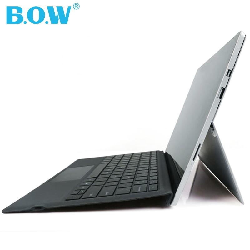 B.O.W Clavier Pour Microsoft Surface Pro 4/Pro 3, mince Rétro-Éclairé Sans Fil Bluetooth avec Trackpad + 750 mah batterie
