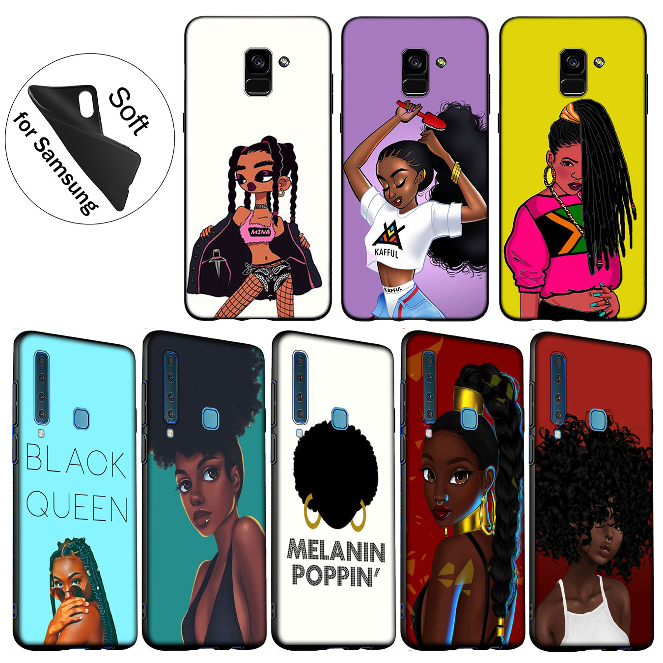 Reasonable Iyicao New Personalized Melanin Poppin Black Girl Soft Case For Samsung Galaxy A6 Plus A9 A8 A7 2018 A3 A5 2016 2017 Note 9 8 Pure And Mild Flavor Phone Bags & Cases Fitted Cases