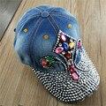 LGFD17221 Women  2017 new fashion  adjustable  custom anchor panda  Rhinestones design denim baseball cap  girl cotton snapback