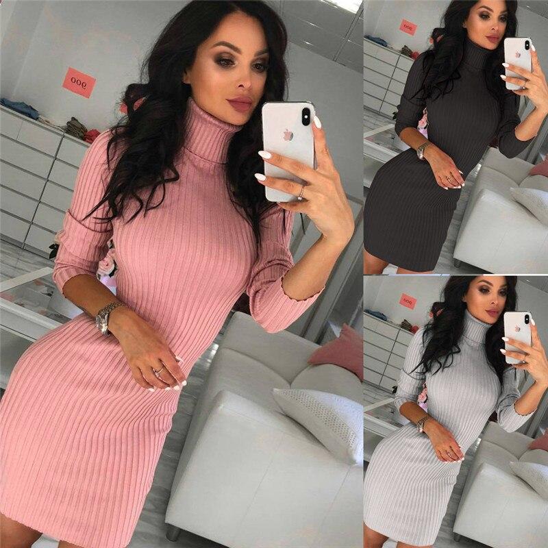 2019 Winter Women Knited Sweater Dress Long Sleeve Turtleneck Sexy Casual Fashion Slim Bodycon Office Ladies Club Mini Dress