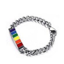 Female Girlfriend Stainless Steel Pride Shack  Jewelry Homosexual Love Bend Rainbow Hand Chain Bracelets Bangles