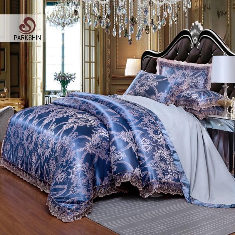 Parkshin Luxury Satin Jacquard Blue Bedding Set Duvet Cover Bed Sheet Pillowcase Silk Bed Linen Bedspread